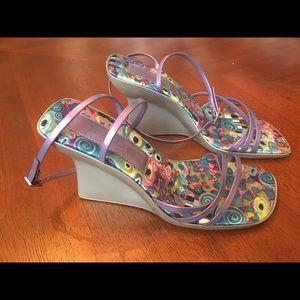 Bebe size 9 ankle strap silver/purple heels great